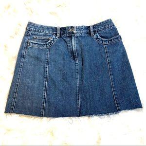 """Talbots Raw Hem 17.5"""" Mini Jean Skirt Size 14"""